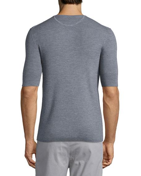 Ribbed Short-Sleeve Wool-Silk Henley Shirt