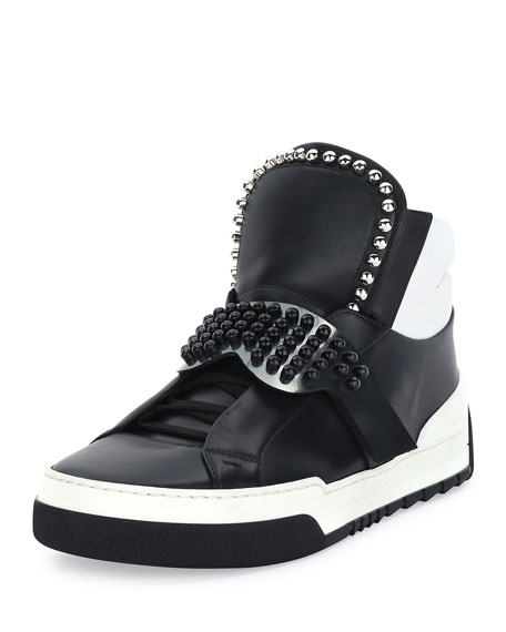 Fendi Karlito Men's High-Top Sneaker w/Fur Ponytail