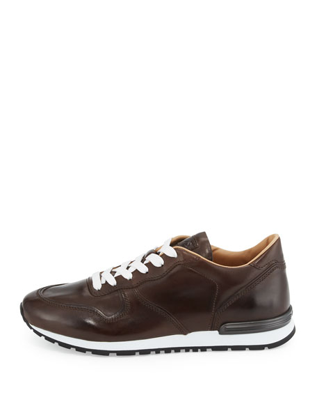 Men's Smooth Leather Trainer Sneakers, Dark Brown