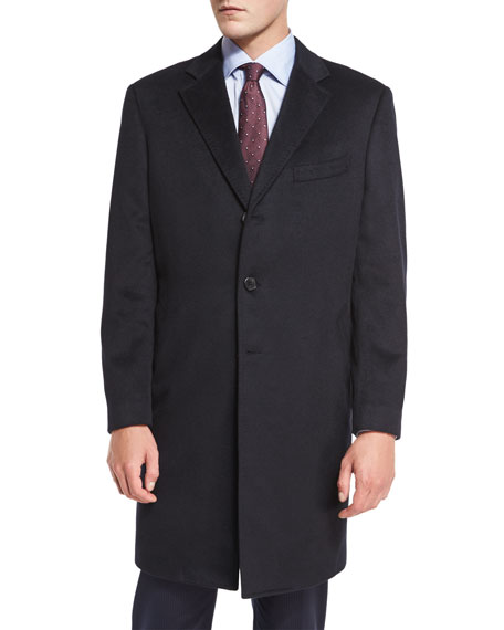 Cashmere Three-Button Long Coat, Black