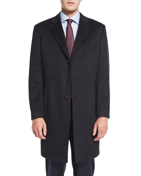 Neiman Marcus Cashmere Three-Button Long Coat, Black