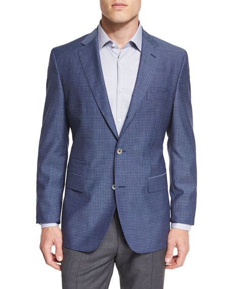 BOSS Hutsons Mini-Check Slim-Fit Wool Sport Coat, Navy