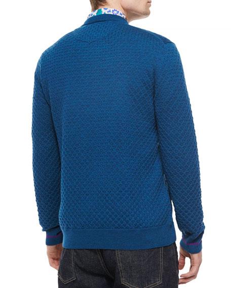 Bagley Textured V-Neck Sweater, Teal