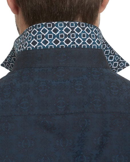 Cullen Tonal-Print Woven Sport Shirt