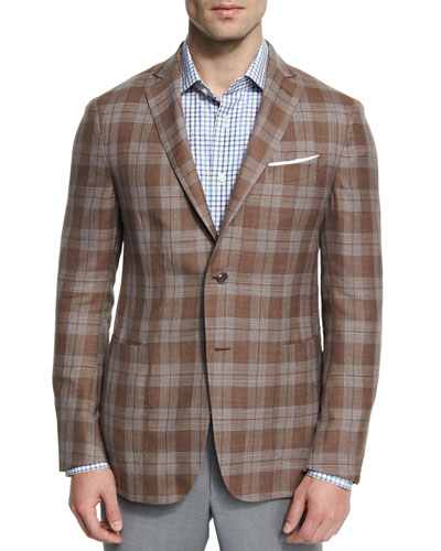 Capri Plaid Two-Button Sport Coat, Brown