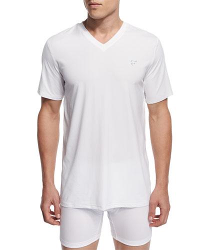 Mesh V-Neck T-Shirt, White