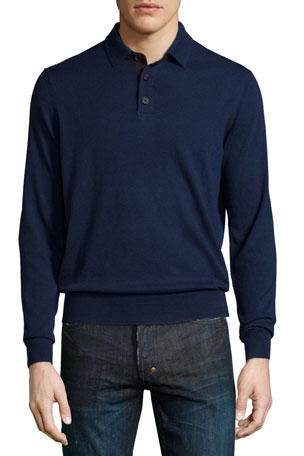 Neiman Marcus Suede-Placket Cashmere Polo