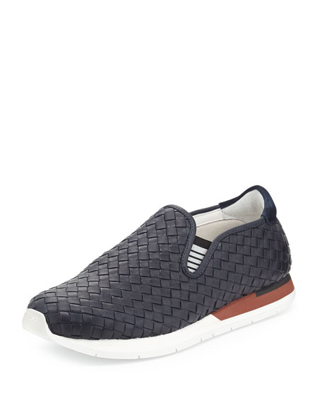 Bottega Veneta Woven Slip-On Sneaker, Navy