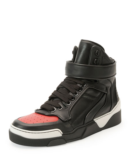 Tyson Cap-Toe Leather High-Top Sneaker, Black/Red