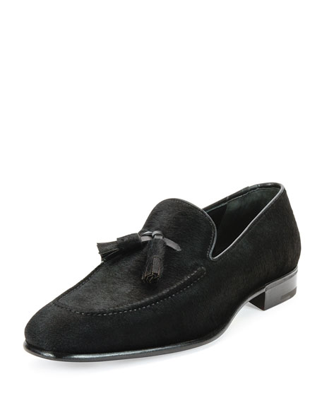 Salvatore Ferragamo Pony Hair Tassel Loafer, Black
