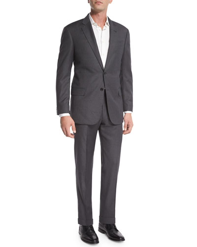 G-Line Windowpane Wool Two-Piece Suit, Gray