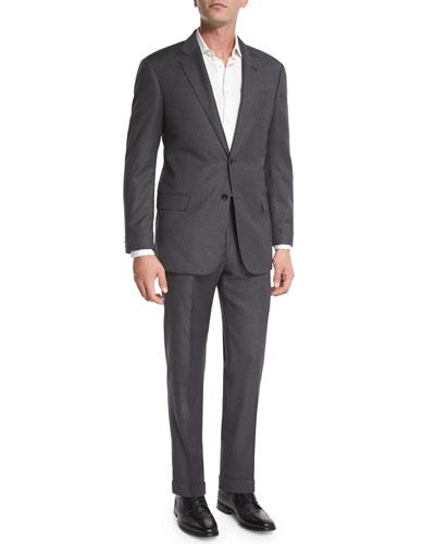 G-Line Windowpane Wool Two-Piece Suit, Gray