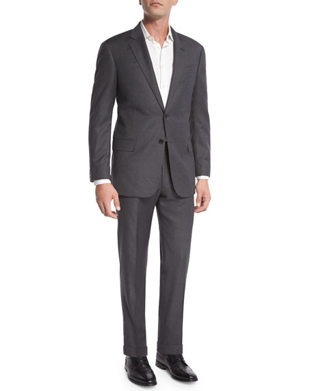 Armani Collezioni G-Line Windowpane Wool Two-Piece Suit, Gray