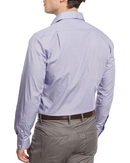 Geometric-Print Long-Sleeve Sport Shirt