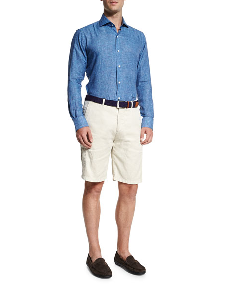 Garment-Dyed Cargo Shorts, Ivory