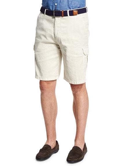 Peter Millar Garment-Dyed Cargo Shorts, Ivory