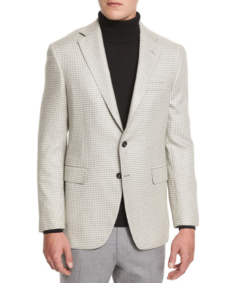Oxxford Houndstooth Two-Button Sport Coat, Gray/White