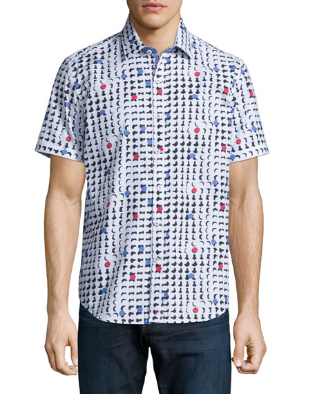 Geo-Print Short-Sleeve Woven Shirt, Multi