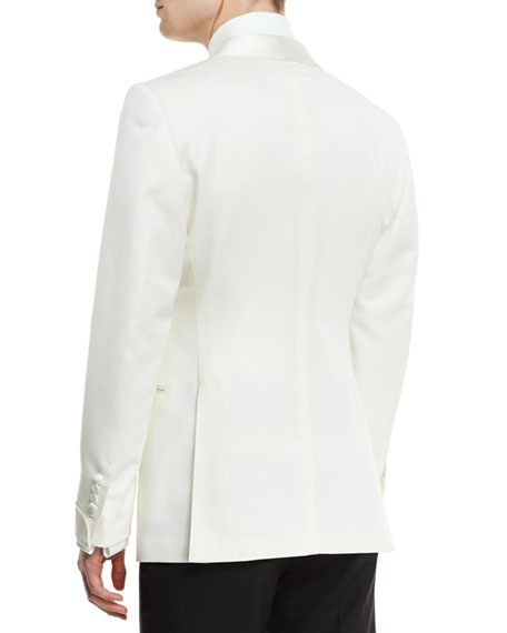O'Connor Base Satin-Lapel Wool Jacket, Ivory
