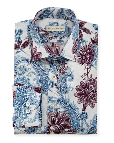 Paisley-Print Long-Sleeve Sport Shirt  White/Multi