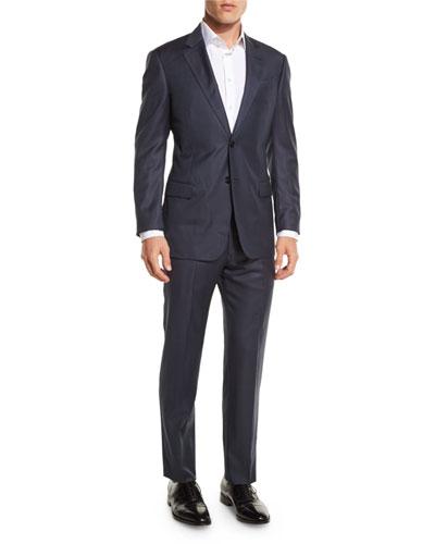 G-Line Sharkskin Wool Two-Piece Suit, Navy