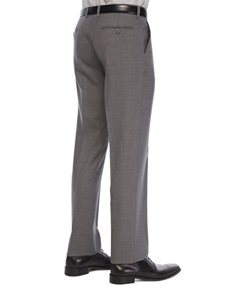 Flat-Front Wool Trousers, Med Gray