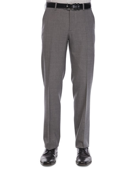 Etro Flat-Front Wool Trousers, Med Gray
