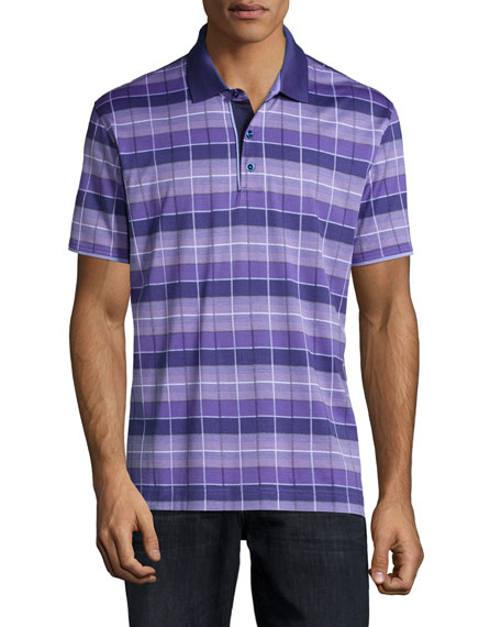 Robert Graham Exploded-Grid Short-Sleeve Polo Shirt, Purple