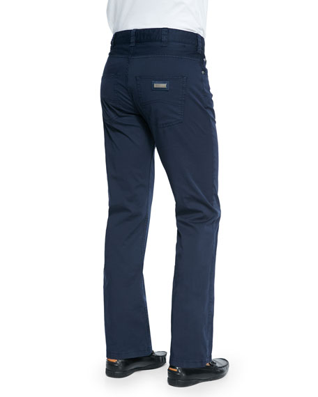 Five-Pocket Cotton Pants, Navy