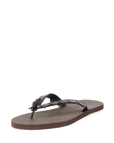 Bottega Veneta Crocodile-Embossed Flip-Flop Sandal, Dark Brown