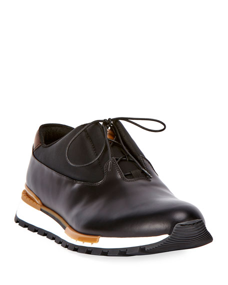 Berluti Fast Track Men's Leather Trainer Sneaker, Black