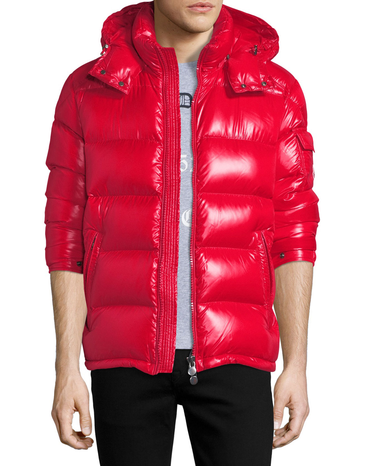 68fe2c8a0373 Moncler Men s Maya Shiny Down Puffer Jacket with Hood