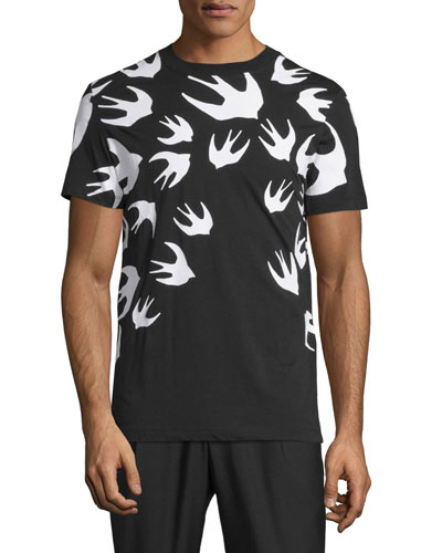 Bird-Print Short-Sleeve T-Shirt