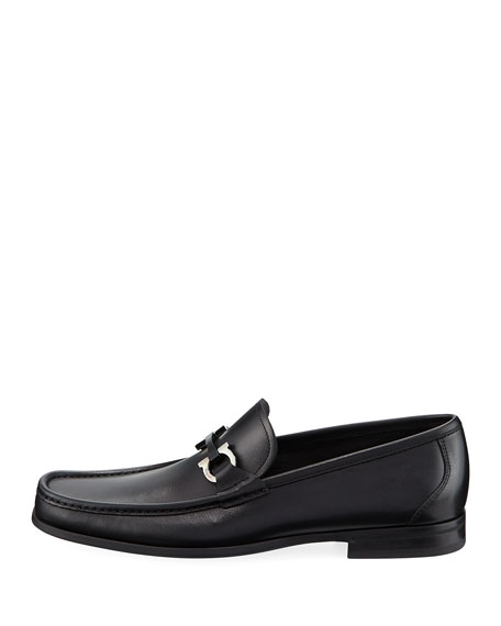 Gancini-Bit Leather Moccasin Loafer