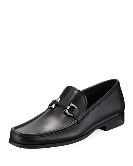 Salvatore Ferragamo Gancini-Bit Leather Moccasin Loafer and