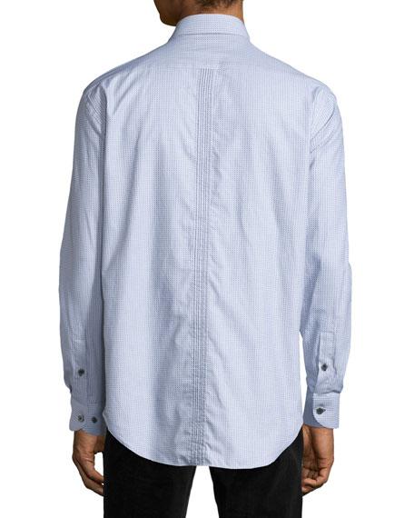 Jacquard Long-Sleeve Sport Shirt, Gray