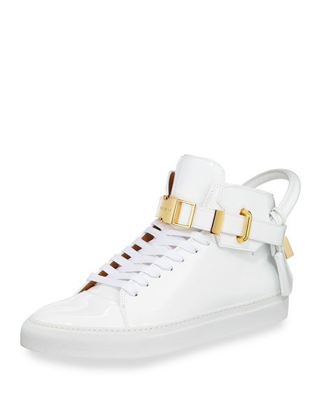 Buscemi Men's 100mm Patent Leather High-Top Sneaker, White