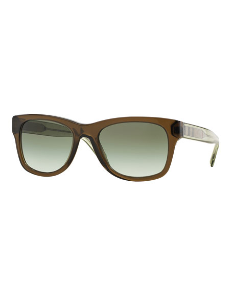 Transparent Plastic Sunglasses with Check Detail, Olive