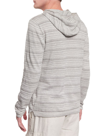 Textured Stripe Long-Sleeve Hooded Sweater, Flint