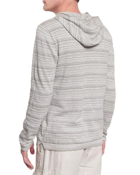 Textured Stripe Long-Sleeve Hooded Sweater, Flint