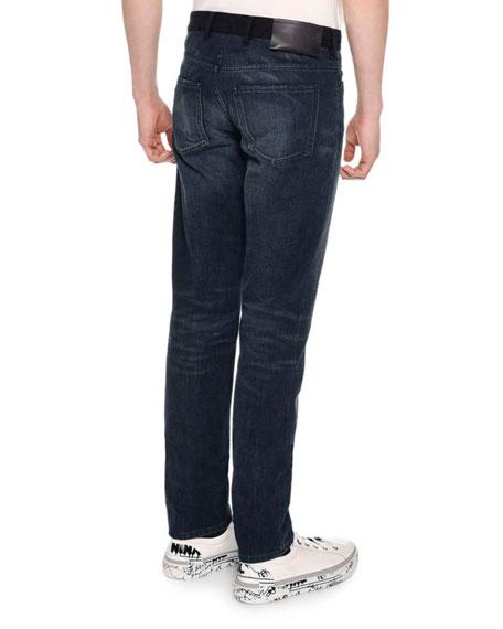 Contrast Waistband Skinny 5 Pocket Jeans, Blue