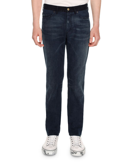 Lanvin Contrast Waistband Skinny 5 Pocket Jeans, Blue