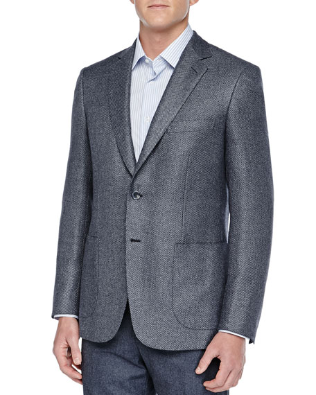 Brioni Stair-Step Weave Blazer, Gray