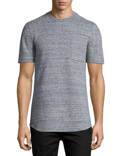 Melange Short-Sleeve Crewneck T-Shirt, Gray