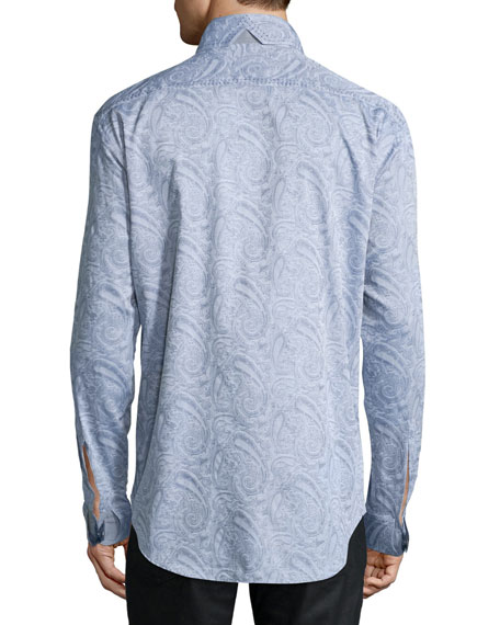 Paisley Jacquard Long-Sleeve Sport Shirt, Gray
