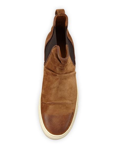 Reed Sharpei Leather Chelsea High-Top Sneaker, Dark Brown