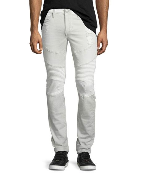 True Religion Rocco Two-Tone Moto Jeans, Gray