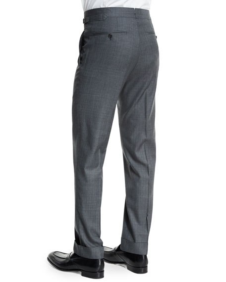 O'Connor Base Mixed Sharkskin Trousers, Light Gray
