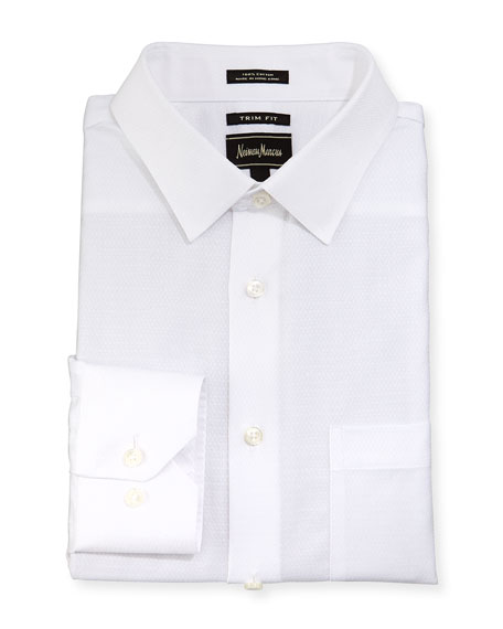 Neiman Marcus Trim-Fit Dobby Dress Shirt, White