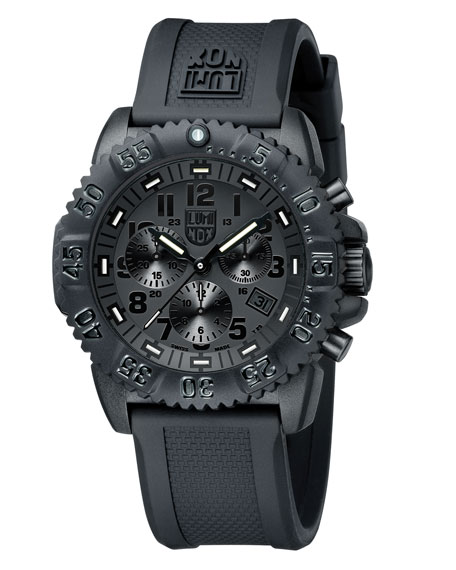 44mm Navy SEAL 3080 Series Colormark Chronograph Watch, Black
